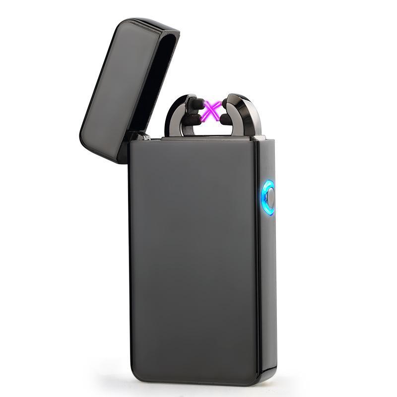 남성 선물 아크 라이터 금속 USB 충전식 Flameless 전기 아크 Windproof 시가 라이터 크로스 더블 펄스 슬림 라이터