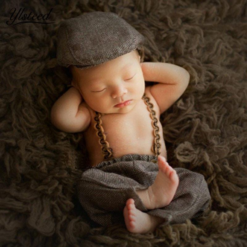 3 pçs / set Bebê Recém-nascido Fotografia Adereços Foto Bebê Suspender Calças Cavalheiro Chapéu Chapéu de Cowboy Infantil Photoshoot Outfits