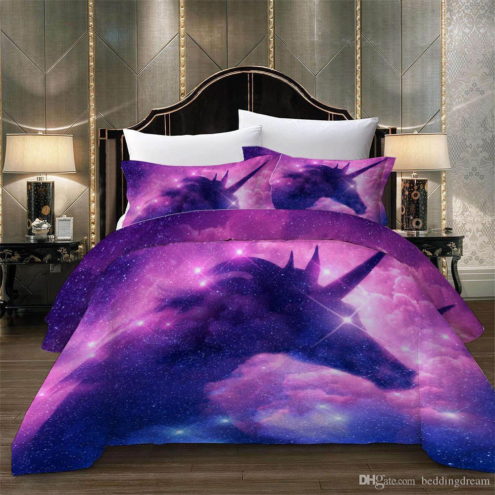 Sternenhimmel Einhorn-Fantasie-Bettwäsche-Set für Mädchen Magic 3D Printed Bettbezug Queen-Startseite Dezember Doppelzimmer Einzelbettdecke mit Pillowcase
