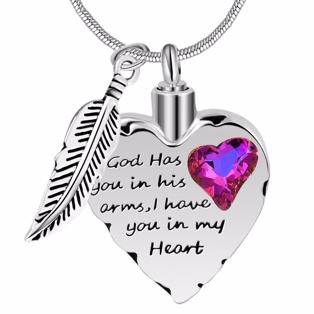 Dieu vous a dans ses bras collier de crémation pour maman, papa, animal de compagnie commémoratif urne cendres collier de mode bijoux souvenir pendentif T190620