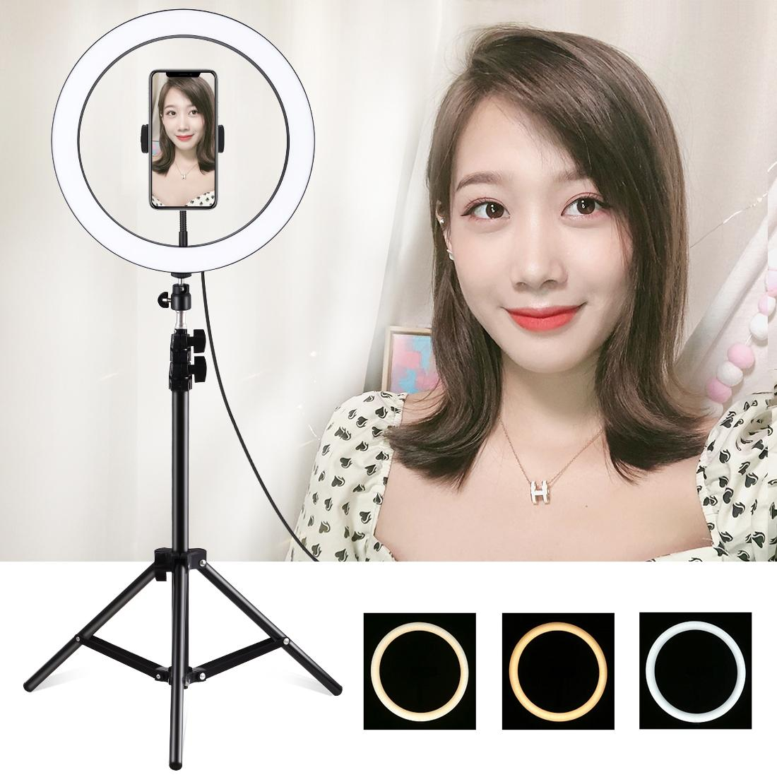 PULUZ 11.8 inch 30cm Light Dimmable LED Ring Vlogging Video Light Live Broadcast Kits with Cold Shoe Tripod Ball Head & Phone Clamp