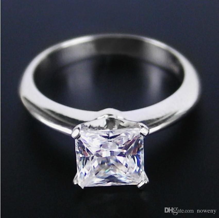 Upscale Classic Channel Setting 1.0 CT Synthetic Diamond Engagement Rings Fine 925 Silver With Real 18K White Gold Plated Jewelry For Women