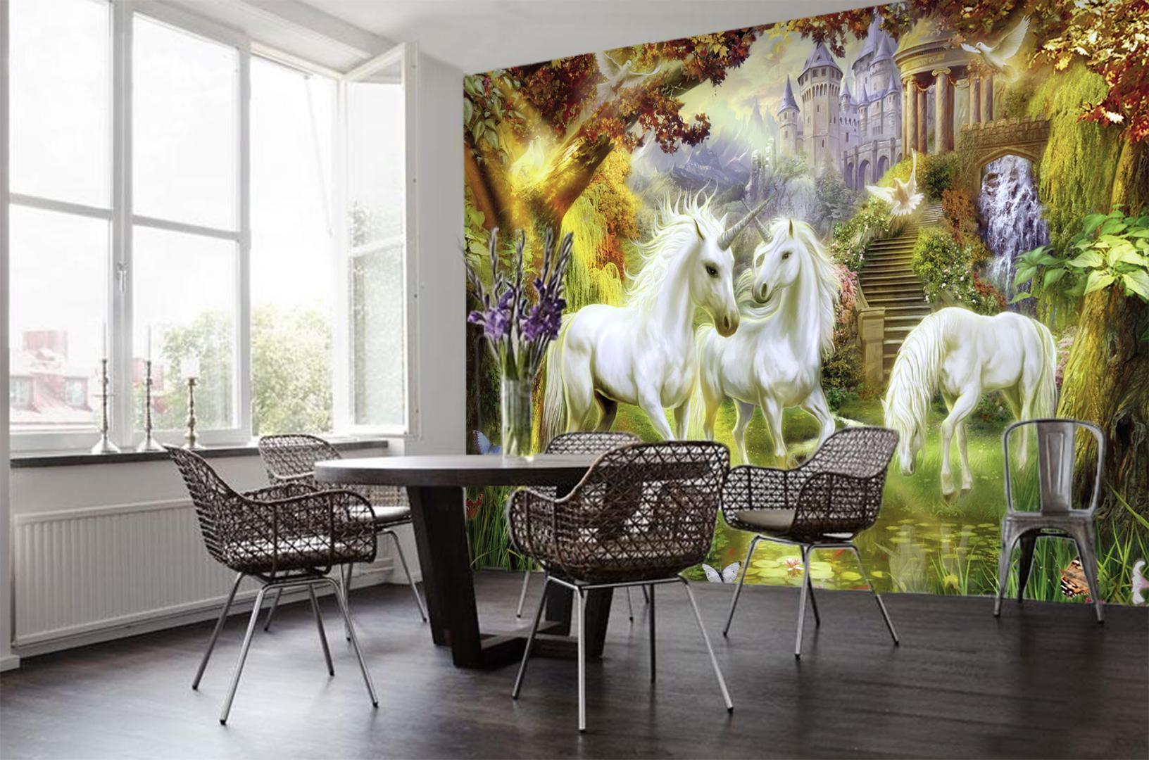 [Kendinden Yapışkanlı] 3D Saf Unicorn 5658 Duvar Kağıdı duvar Duvar Baskı Çıkartması Duvar Resimleri