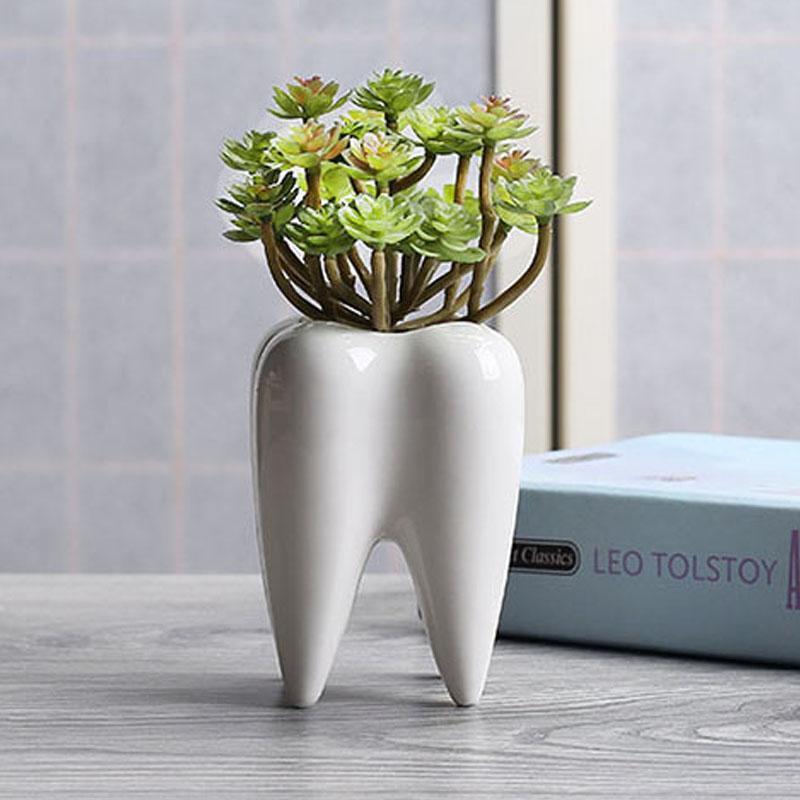 2019 White Ceramic Fleshy Small Flowerpot Tooth Shape Table Plant Pot Culture Flower Pot Home Decoration Bonsai Pots For Green Plants