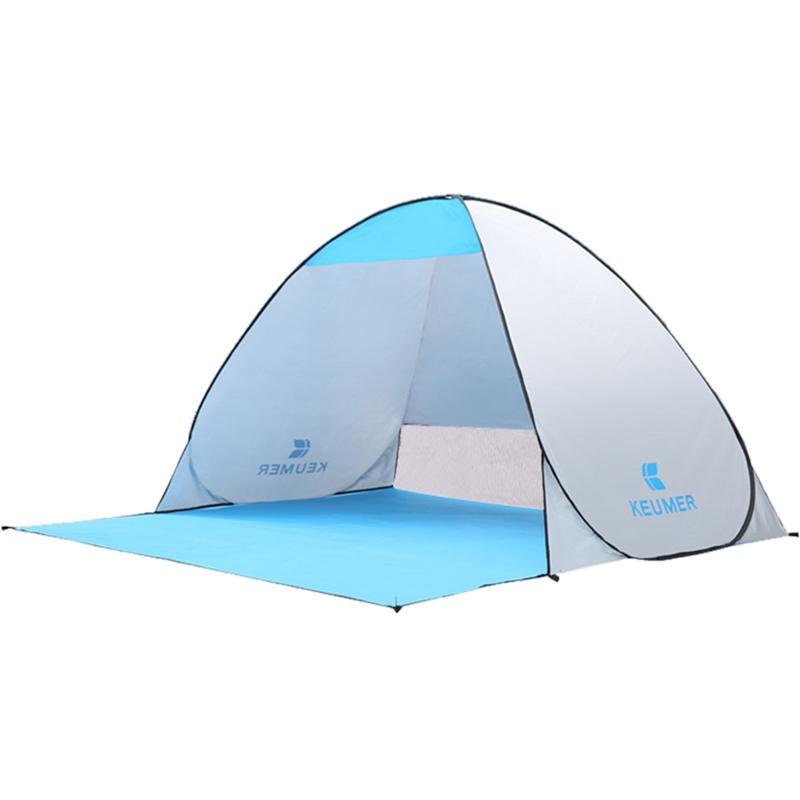 KEUMER Outdoor Tent Beach Tent Shelter (120+60)x 150 x 100Cm Instant -Up Camping Fishing Travel Garden Sun Shelter