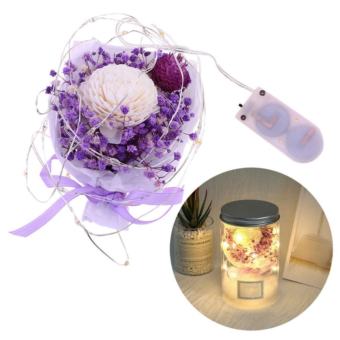 Forever Flower Foam Rose Gypsophila secada Flor eterna preservada con luz LED Regalo de cumpleaños del día de San Valentín