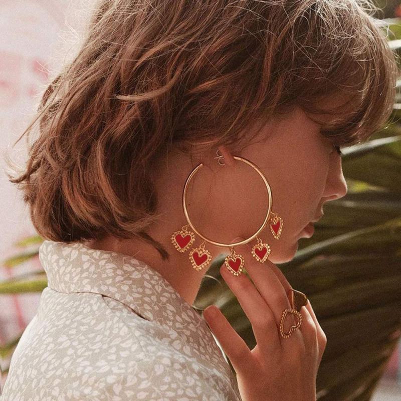 Neu angekommen übertriebene Rote Herz-Anhänger große Band-Troddel-Ohrringe für Frauen Vintage Dame Schmuck Statement Kreis Oorbellen