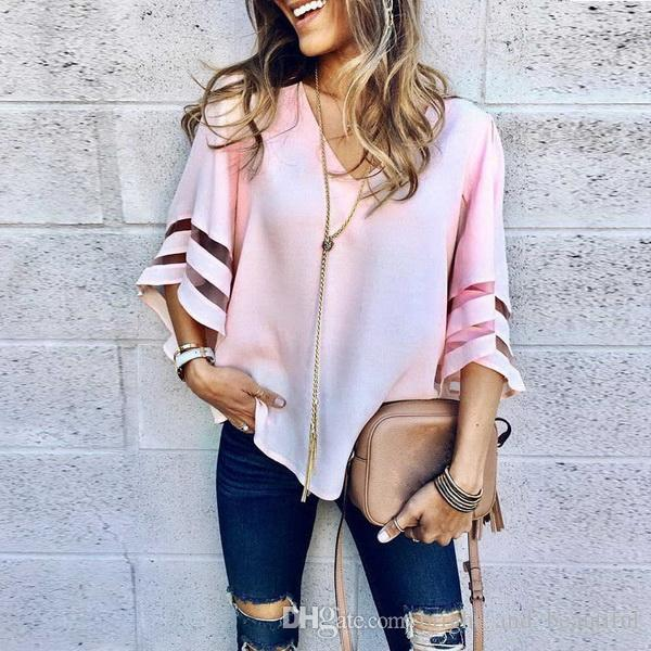 2019 Mulheres V Neck Tops manga curta menina moleton blusas Camiseta T feminino roupas sólida feminina outono cobre T