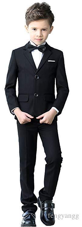 أسود رمادي البحرية بنين يناسب لحضور حفل زفاف أطفال السترة البدلة لصبي زي الشقي زواج الصبي سهرة 5 قطع (سترة + بنطلون + سترة + قميص + ربطة الانحناءة)