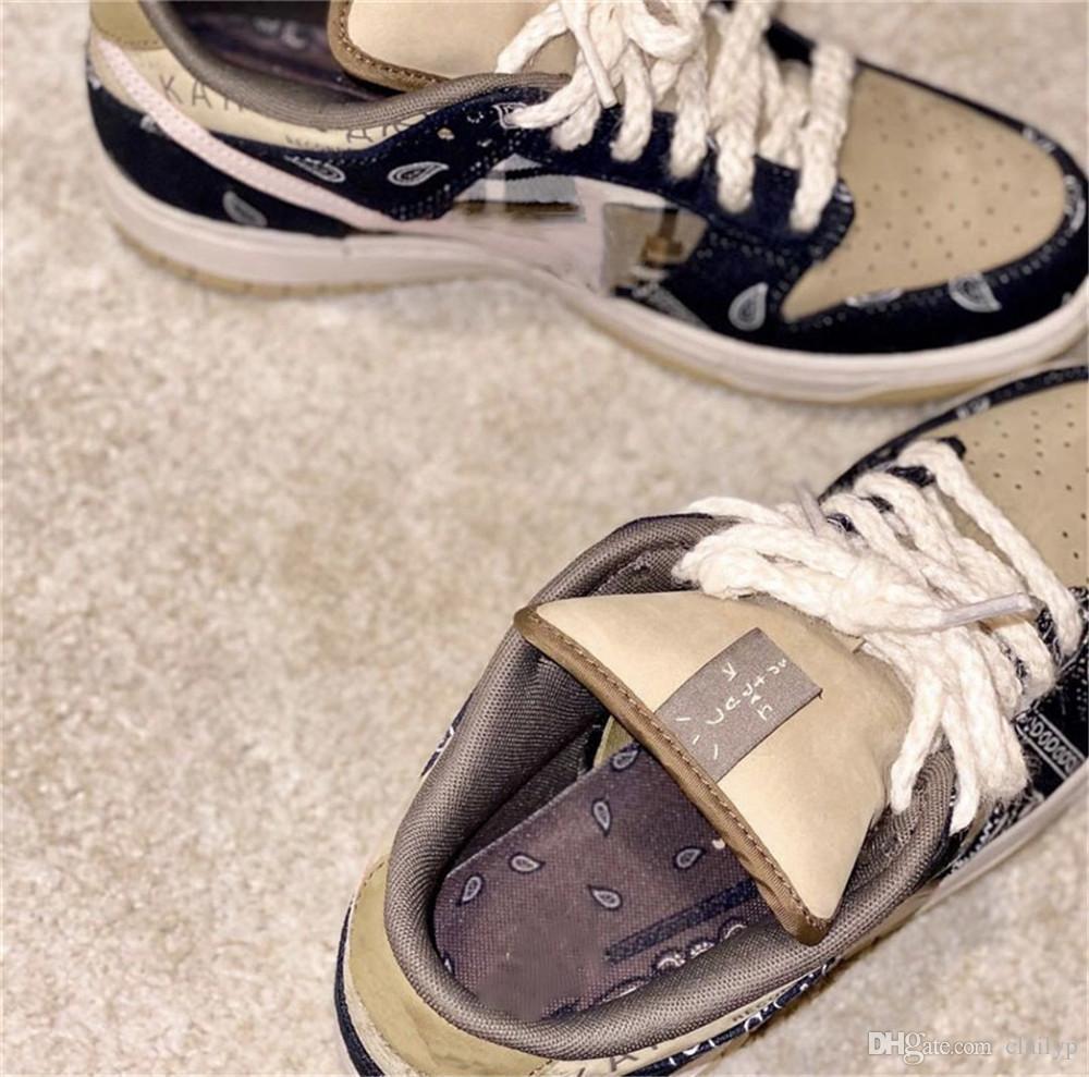 2020 новый Трэвис Скотт x SB Dunk низкая баскетбольная обувь мужчины кактус Джек парашют бежевый Петра коричневый черный с коробкой