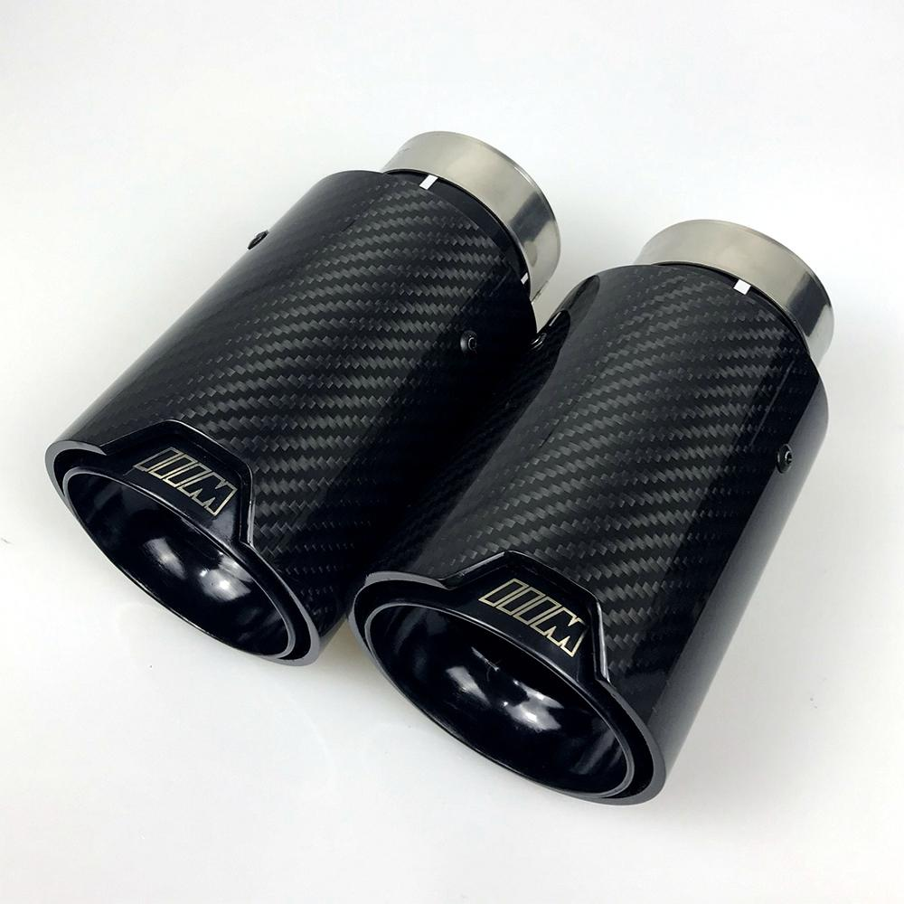 1pcs Universal M LOGO Carbon Fiber Exhaust tips For M Performance exhaust pipe For BMW Exhaust tips Glossy Carbon