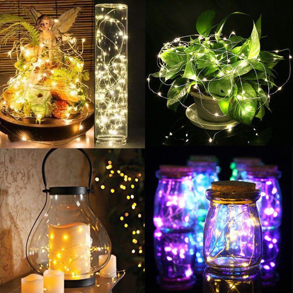 Fio de cobre LEVOU Luzes Da Corda Fada Luz Estrelada Garland 1 M 2 M 3 M Bateria Operado Para A Árvore de Natal Xmas Wedding Party Decoração
