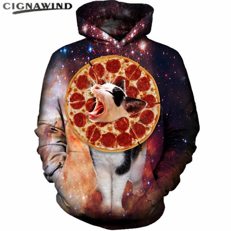 Nova Moda Engraçado Pizza Gato Hoodies Menwomen Com Capuz Digital 3D Impresso Espaço galaxy Sweater hip hop streetwear Pullover Tops