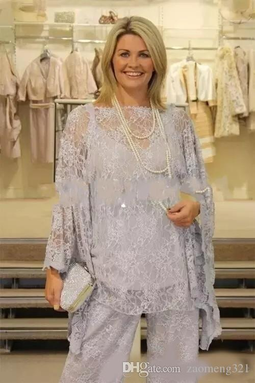New Lace Mother of the Bride Pant Suits Plus Size Long Sleeves Silver Women Formal Gowns Three Pieces Mother Dresses for Wedding
