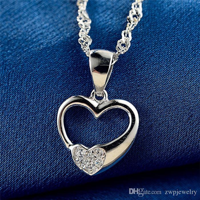 Moda sólida prata esterlina amor coração encantos das mulheres pingentes de casamento por atacado cubic zircon S925 gemstone colares resultados da jóia DIY