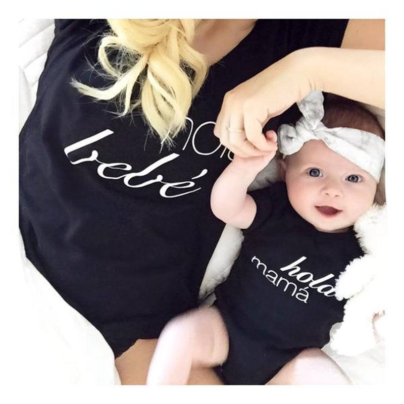 Nueva informal del bebé de la madre de la muchacha y Negro hija ropa padres e hijos la camiseta a juego de la familia