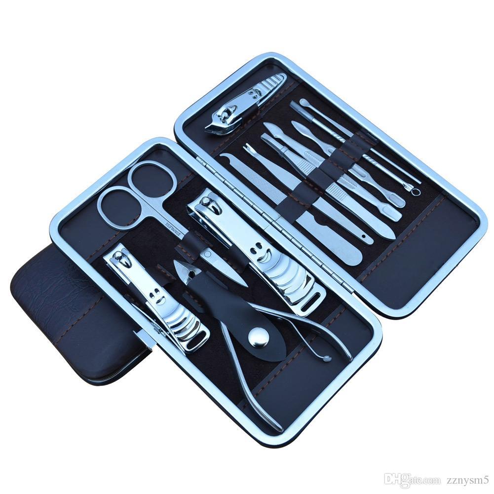 In acciaio inox manicure lavora la lama Kit Set 12 pc / lotto Pedicure Clipper Pinzette Strumenti Ear selezionano l'insieme 12 con il sacchetto in PU