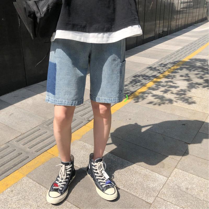 Estate nuovi jeans corti Moda uomo tinta unita casual bicchierini in denim uomo Streetwear Trend Wild Hip Hop pantaloni larghi