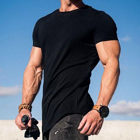 Лето Спорт короткий рукав рубашки для бега мужские запуск Майка мужчин тренажерный зал топы тонкий подходит спортивная одежда фитнес футболки мужчины обычный Бодибилдинг футболки