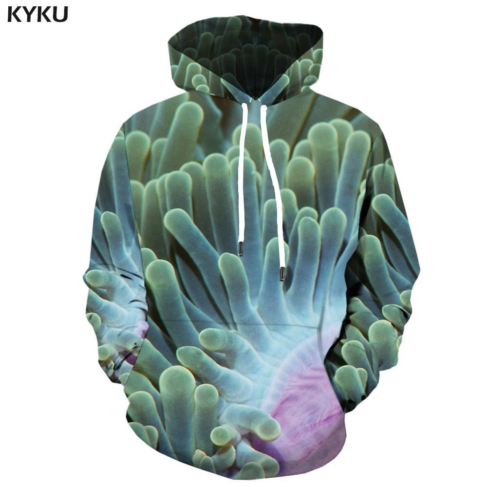 wholesale Coral Fish Hoodies Men Psychedelic Hoodie Tropical Harajuku 3d Printed Sweatshirt Gothic Mens Clothing Tracksuit Hoody New