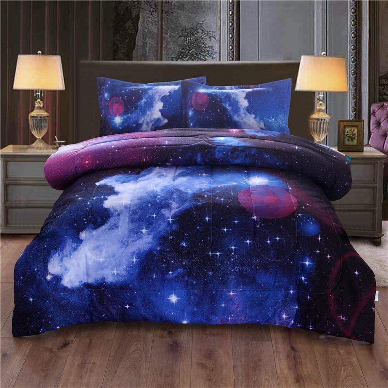 Galaxy Bedspread With Pillow Case Outer Space Quilted Blanket Bed