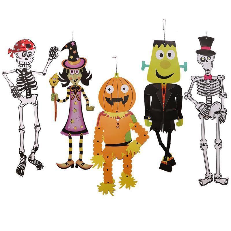 Картона, Хэллоуин череп DIY кулон Хэллоуин тыква падение украшения на Хэллоуин декорации для вечеринок декор для вечеринок