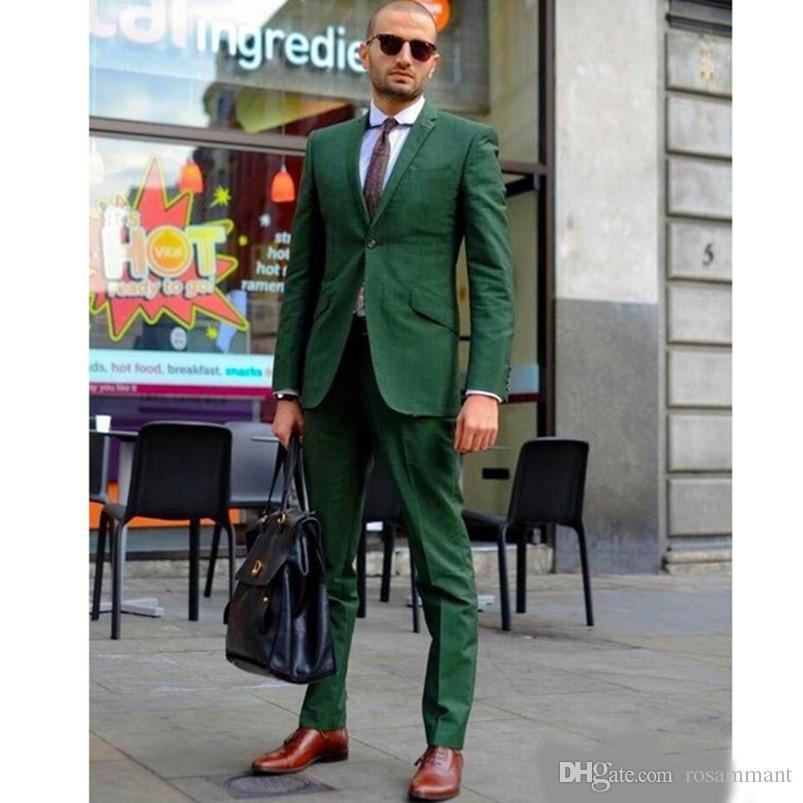 Moda Verde Homens Terno De Casamento Tuxdos Smoking Noivo de Alta Qualidade Slim Fit Custom Made Melhor Men Prom Suit (Jaqueta + Calça)
