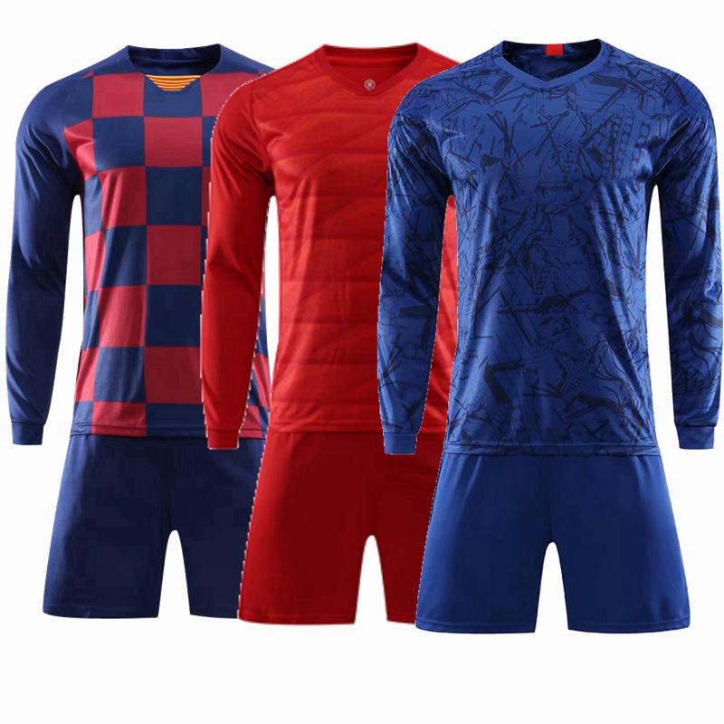 Blank custom Adult Kids Long sleeve Soccer Jersey Set survetement Football Kit Men running Training Uniforms set with shorts