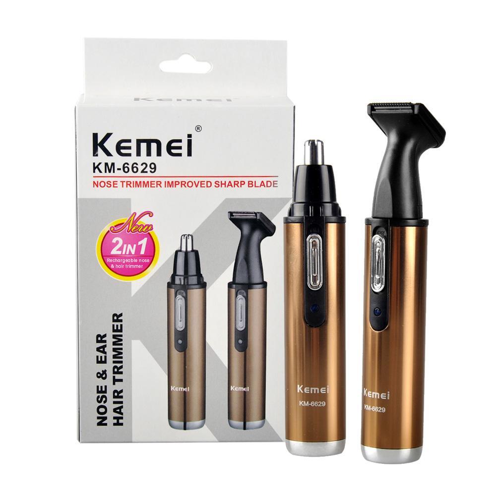 Kemei Km-6629 2 in 1 naso dell'orecchio elettrico Trimmer da barba per uomo e donna Donna sicura