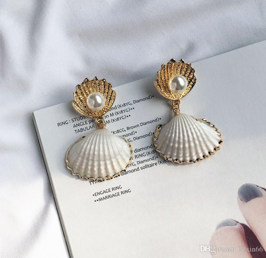 2019 moda trendi yeni doğal kabuk küpe inci küpe soğuk ışık süper peri kişilik moda küpe