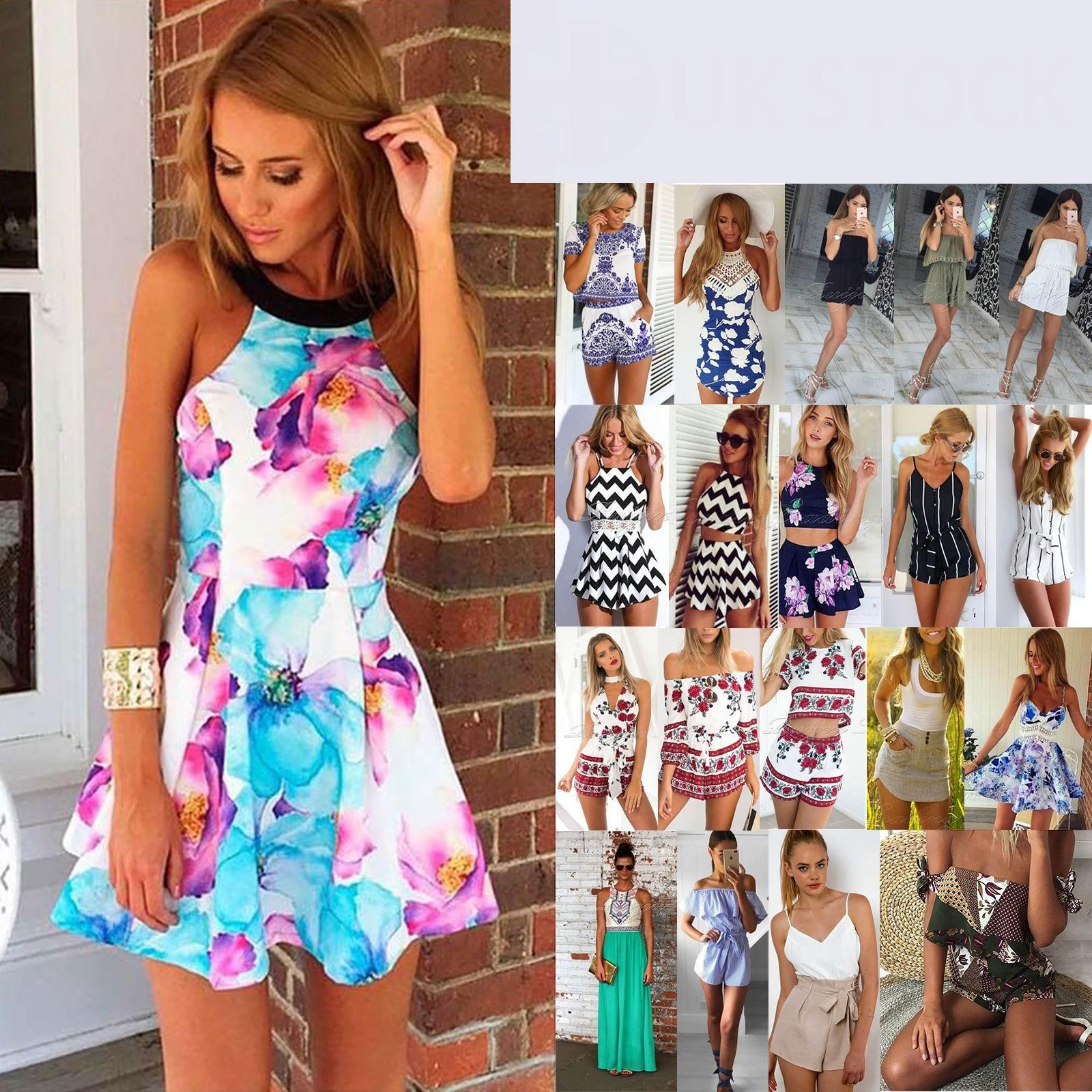 UK Womens Holiday Mini Playsuits Ladies Striped Summer Beach Dress Size 6-14