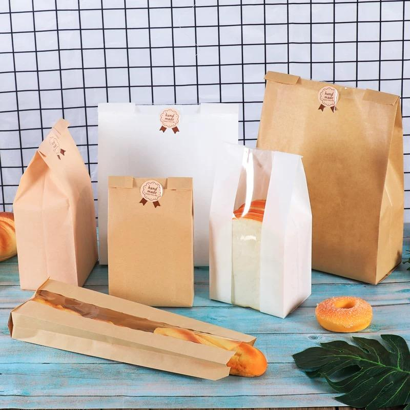 50Pcs/lot White Kraft Paper Bag Toast Bread Packaging Bags With Window Candy Cookie Biscuits Bread Bag Baking Package Gift Bags