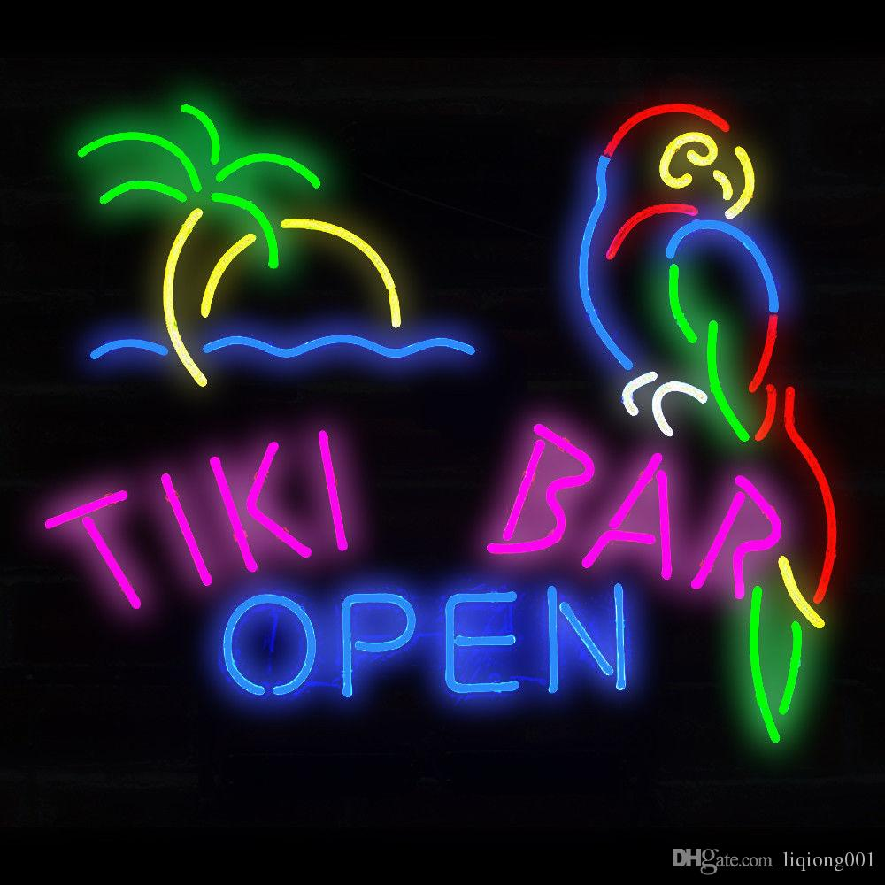 New Star Neon Sign Factory 17X14 Inches Real Glass Neon Sign Light for Beer Bar Pub Garage Room Tiki Bar Open.
