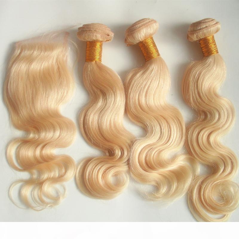613 Sarışın Brezilyalı Vücut Dalga Saç Paketler ile Dantel Kapatma Serbest Bölüm Saf Virgin İnsan saç örgüleri Çift Atkı Remy Uzantıları 4adet Lot