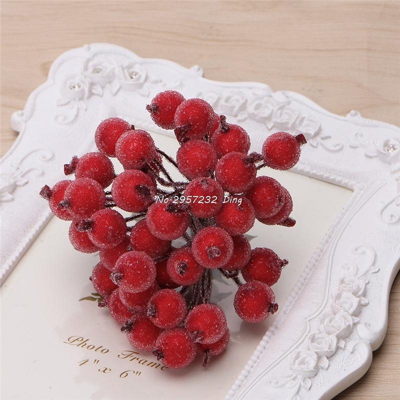 40 unids Mini Frutas Frutas de vidrio Bayas Artificial granada rojo cereza Bouquet Estambre Navidad Decorativo Doble cabezas DropShip C18112601