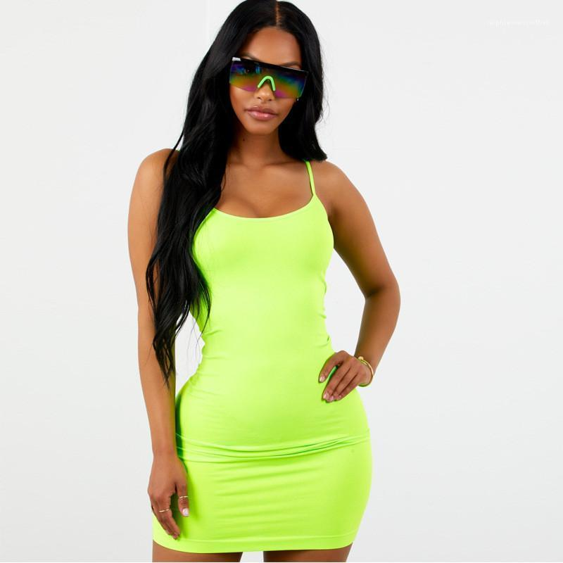 Verão Womens Chicology Designer Bodycon Vestidos Sexy Sling Base de Spaghetti Strap Vestuário Sashes fluorescente mangas roupa