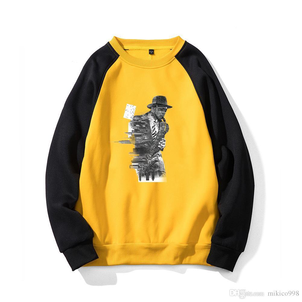 Para hombre de las mujeres abrigo de capucha suéter Europea moda casual suéter de Europa y América suelta cuello redondo multicolor de los hombres q explosión tamaño
