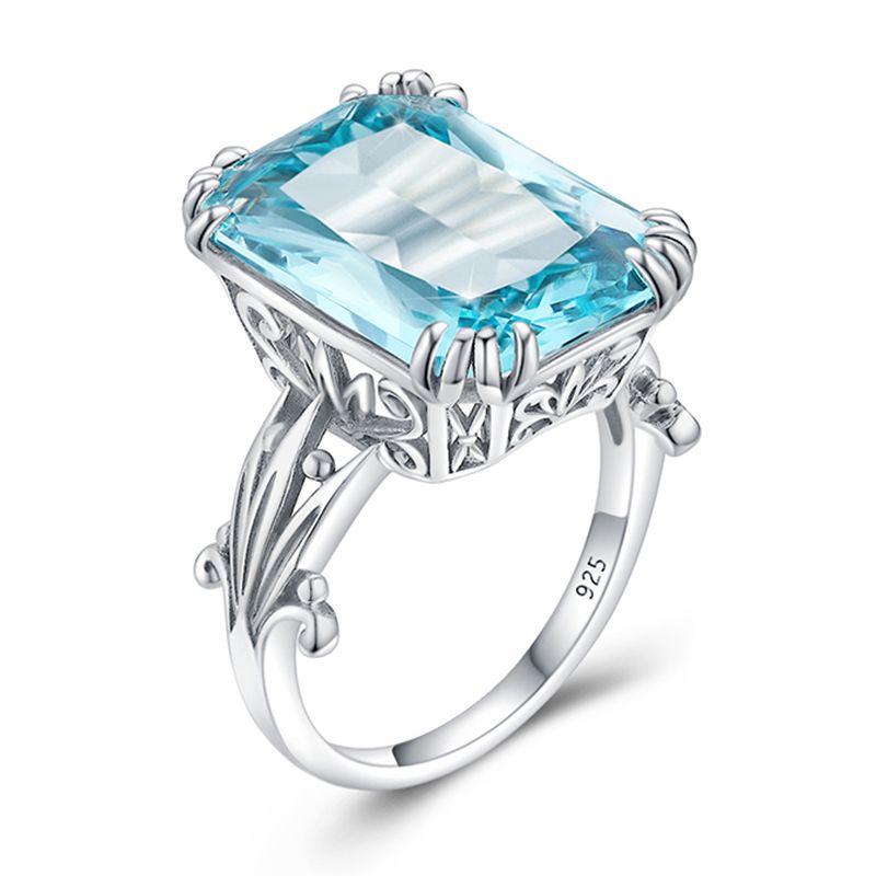 Women Engagement Ring November Birthstone Women Ring Gift For Her 925 Solid Silver Ring Blue Topaz Ring Round Cut Ring Designer Ring