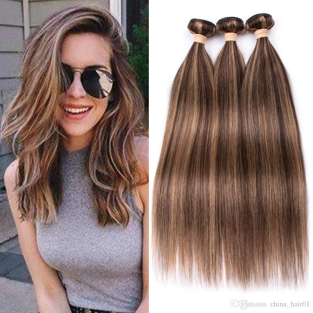 #4 Dark Brown Highlight Mix with #27 Honey Blonde Human Hair Weave Bundles 3Pcs Piano Mixed Color Brazilian Human Hair Weft Extensions