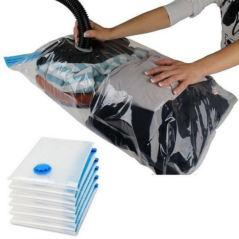 20pcs Inicio de vacío conveniente bolso para la ropa bolsa de almacenamiento con la válvula plegable transparente comprimido Organizador Foca de paquetes