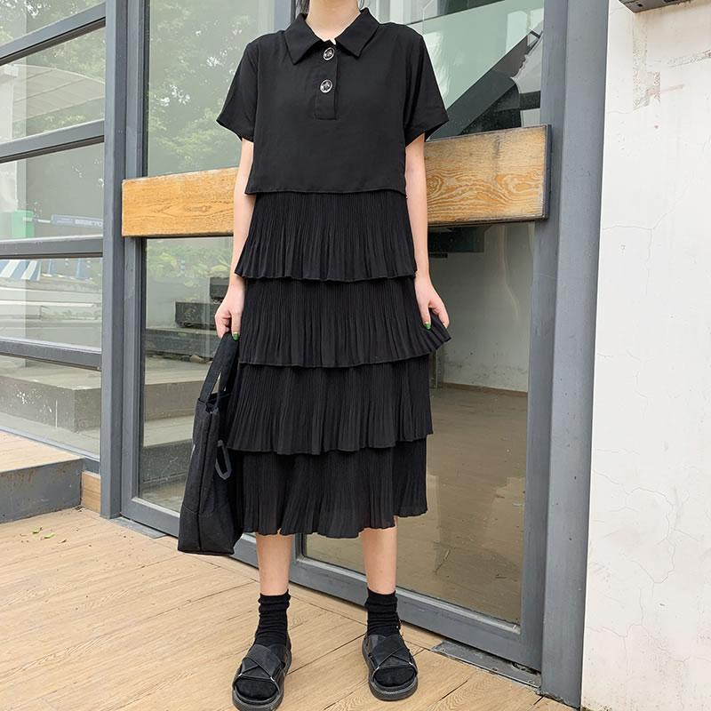 Personalidade solta Ruffles vestido de retalhos Moda Loose Women Clothes 2020 Verão New Turn Down Collar vestido elegante ZLL4975