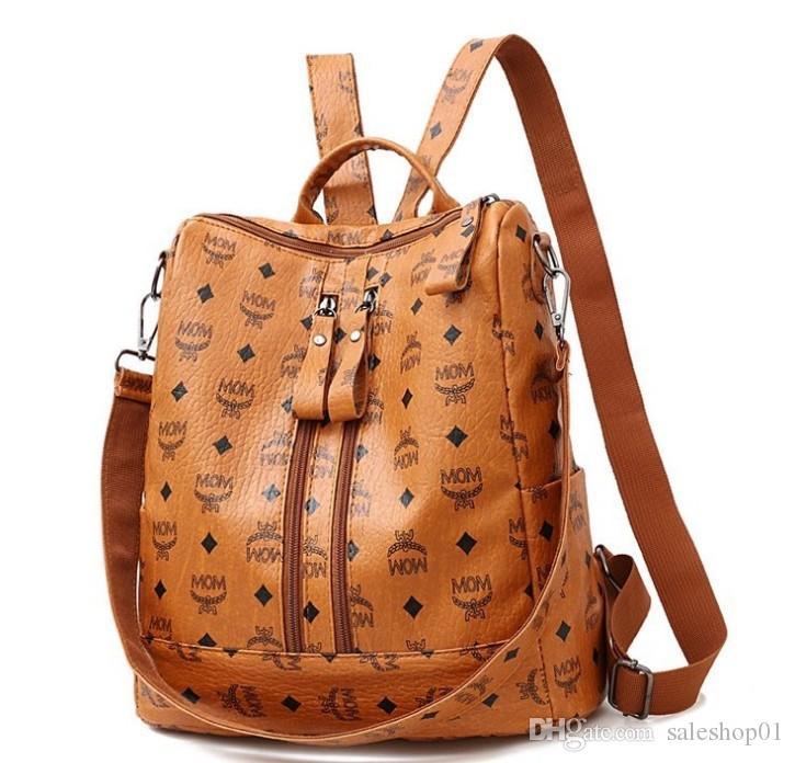 Women Fashion PU Backpack Girls Soft Leather Printed Shoulder Bag Ladies large fashion female Bagpacks for School Teenager Brown