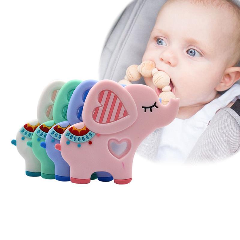 10pcs / lot BPA Free Chew Игрушки Силиконовые Teether слон Зубные шариков младенца оптовой Прорезыватель животных Жевательная игрушка Уход продукт