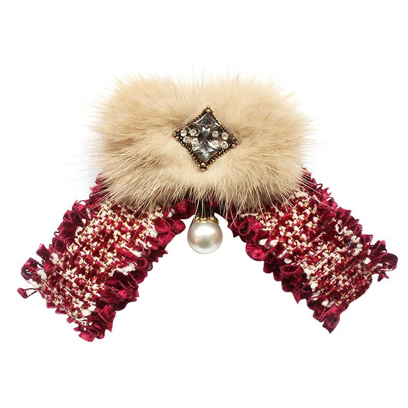 Korean Female Fabric Hairball Bow Ties Stewardess Bank White Shirt Skirt Pearl Rhinestone Fashion Bowtie for Women Accessories