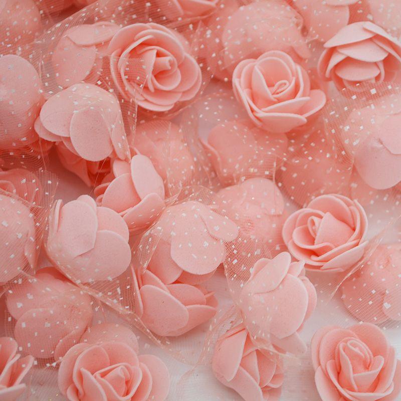 50Pcs/lot 3.5cm Mini PE Foam Rose Heads Artificial Silk Flowers For Home Garden DIY Pompom Wreaths Wedding Decor Supplies