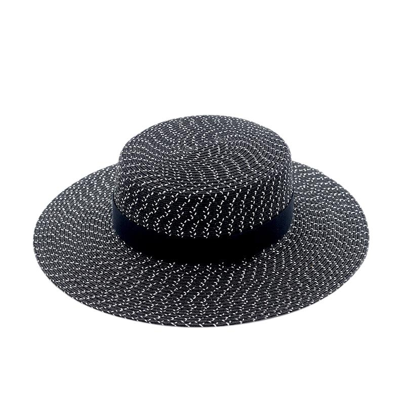 Fashion Lady Straw Hat Wide Side Summer Hat Black Flat Top Ms Panama Beach
