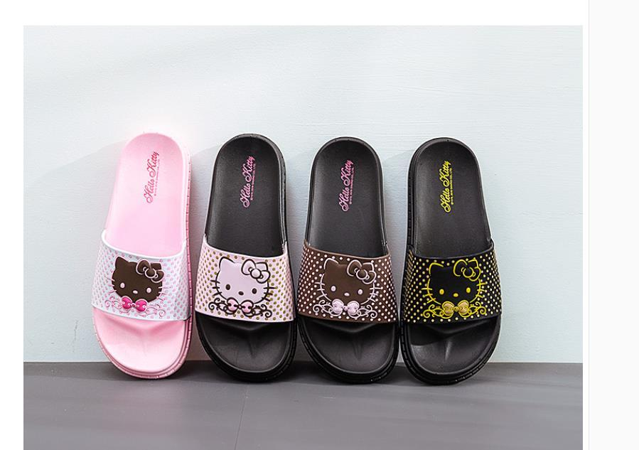 00118aeed ... Wholesale hello Kitty slippers ladies summer indoor cute cartoon  bathroom slip-resistant adult leopard print
