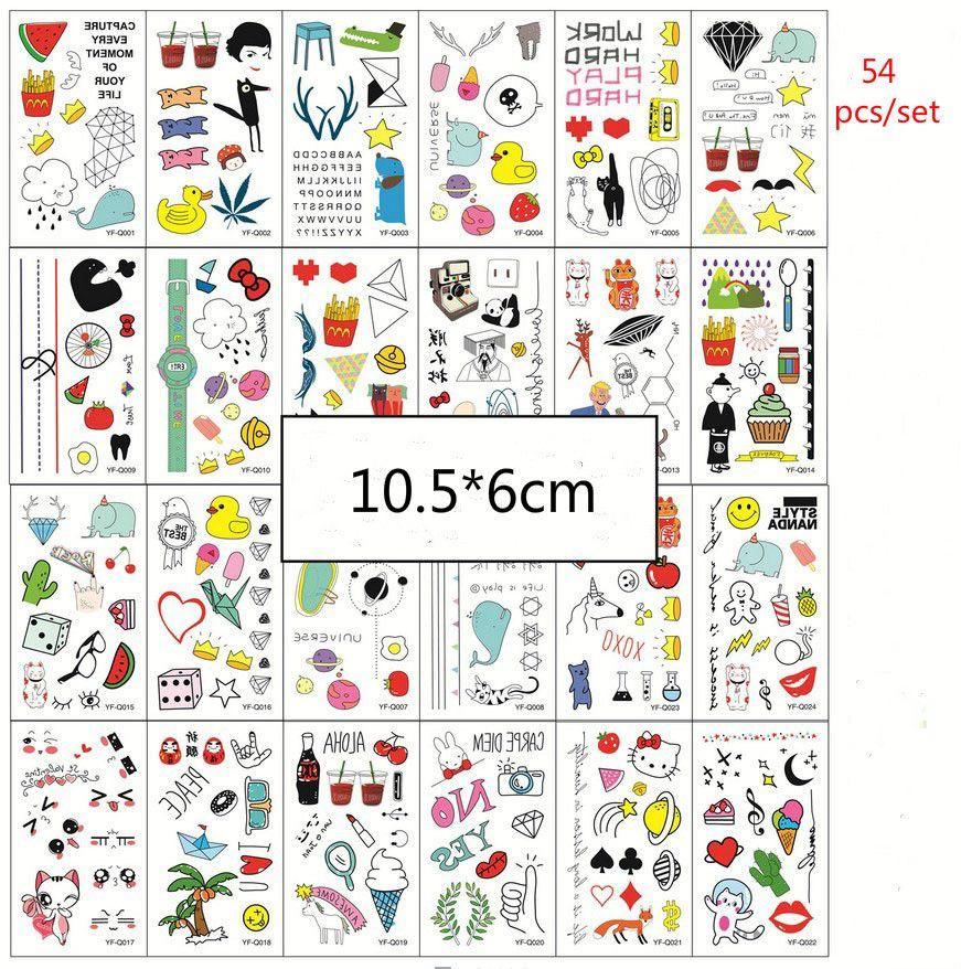 Los tatuajes temporales 54pcs / conjunto de colores a prueba de agua tatuajes temporales Mujeres Niños Niños DIY Pegatinas reloj del gato del cartón falso etiqueta engomada del tatuaje