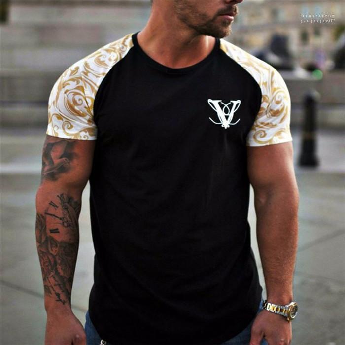 Col rond manches courtes hommes sport T-Fitness Homme T-shirts V Hauts Imprimé Noir Skinny