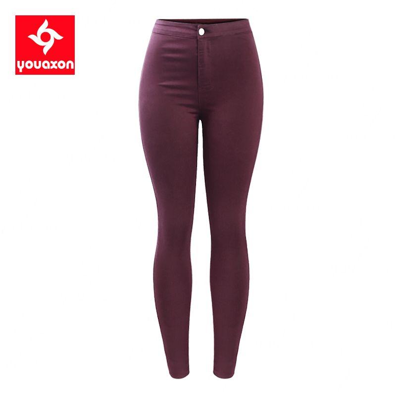 2035 Youaxon yüksek Waisted Bordo elastik Denim Jean kadın pantolon pantolon sıska kalem kadın kot Femme Y200417